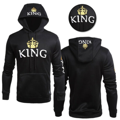 Details about Men Women pullover hoodie King and Queen Crown Couple Matching Sweatshirt Jumper