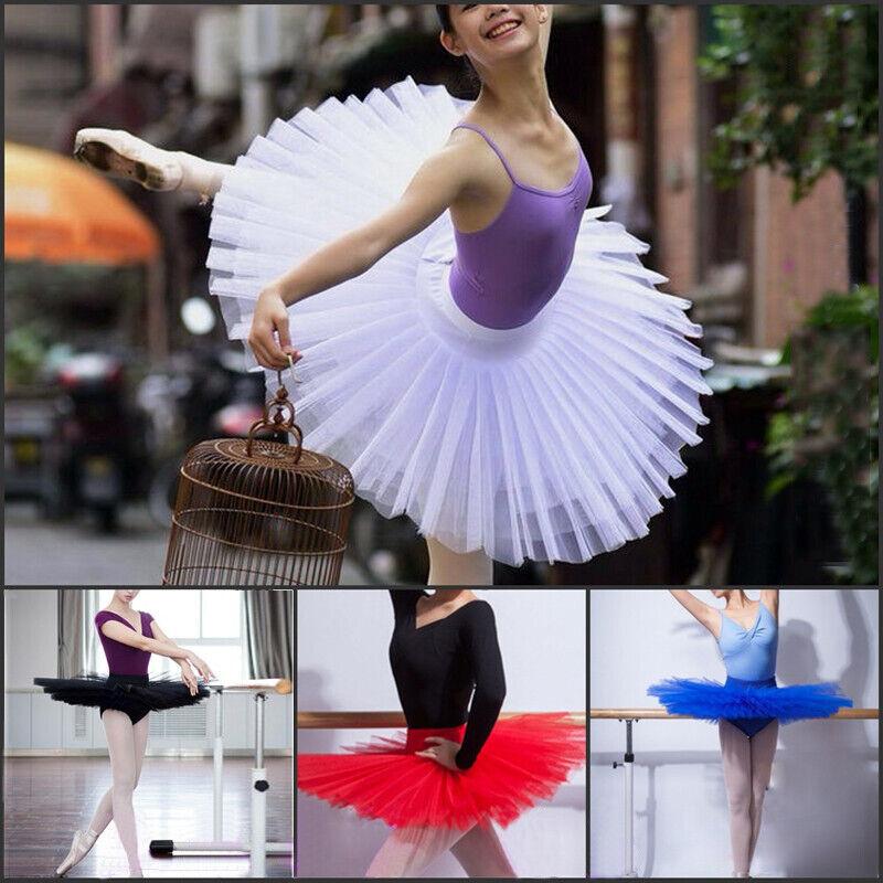 Women Grils Dance Ballet Tutu Skirt 6 Layers Practise Pancake Platter Dancewear