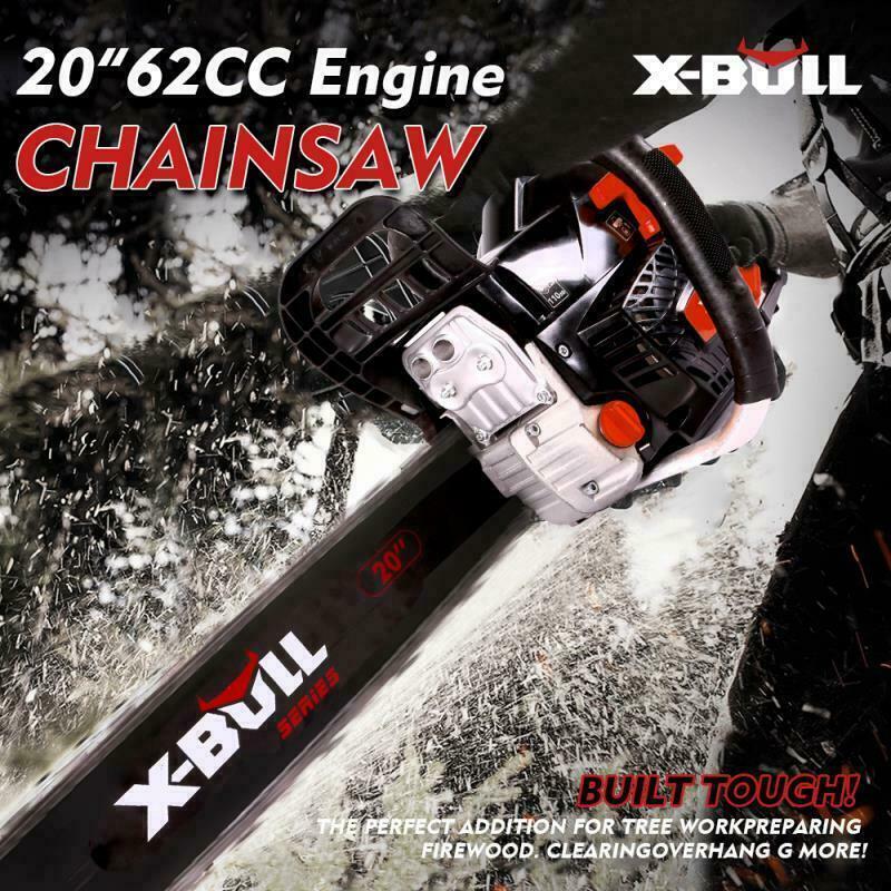 "X-BULL 62cc Chainsaw 20"" Bar Gasoline Powered Chain Saw Engine 2 Cycle"