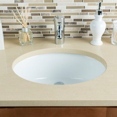 "White Round Bathroom Vanity Undermount Sink-15"" x 12"""