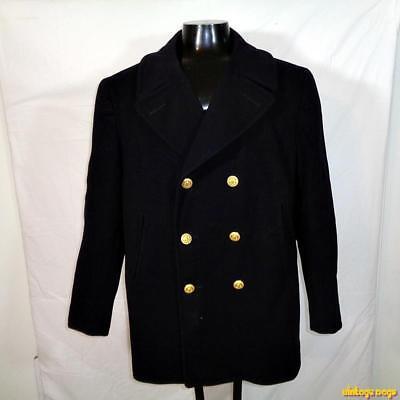 1949 VINTAGE Wool US Navy NAVAL Peacoat Pea Coat Mens Size L 44 Blue military