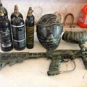 Paintball marker and co2 tanks mask