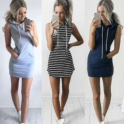 Women Sleeveless Hoodie Mini Dress Summer Casual Hooded Sweatshirt Pullover N - Hood Dress