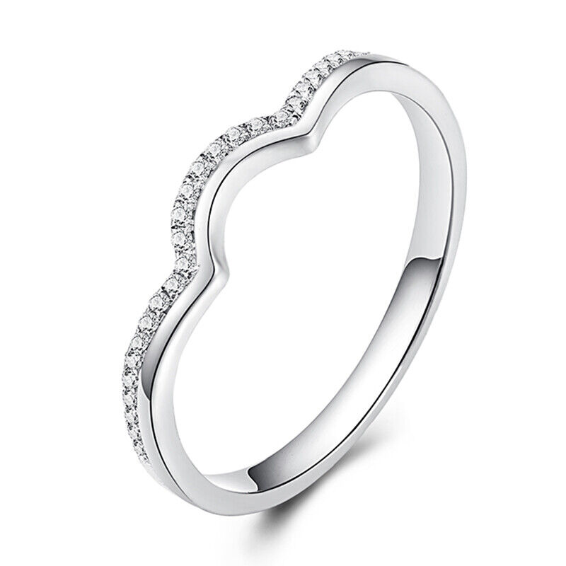 18k White Gold Fine Jewelry Band Pave 0 15ct Natural Diamond