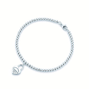 Tiffany & Co 6mm small bead sterling silver bracelet with heart