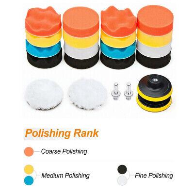 22Pc 3 In Polishing Pads Sponge Woolen Waxing Buffing Pad Kits M10 Drill Adapter