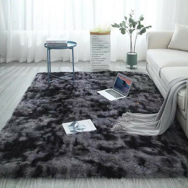 Large Carpet Shaggy Fluffy Area Rug Anti-Skid Rugs Living Ro