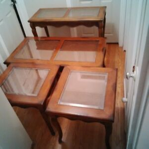 BEAUTIFUL SOLID WOOD COFFEE TABLE, 2 END TABLES AND SOFA TABLE