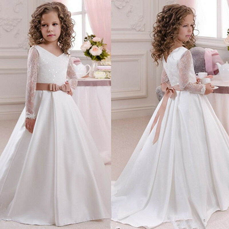 Flower Girl Dress Wedding Bridesmaid First Communion Party Formal Gown For Kids