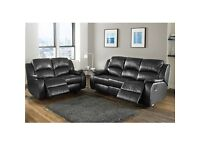 BRAND NEW REAL ITALIAN LEATHER RECLINER 3+2 SOFA IN BLACK OR BROWN + DELIVERY