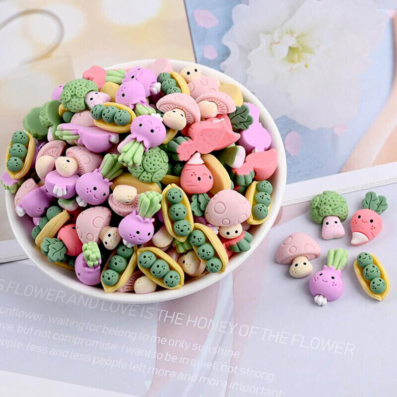 20Pcs Mixed Mini Resin Vegetables Flatback Buttons Cabochons for Crafts Decor