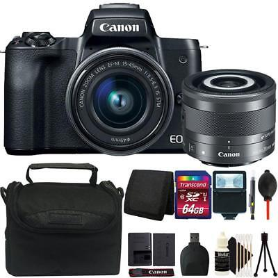 Canon EOS M50 Mirrorless Digital Camera with 2 Lenses and Complete Accessory Kit