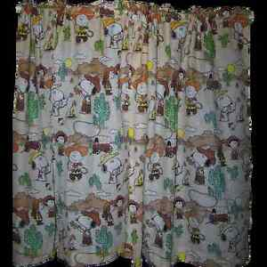 CHARLIE BROWN Curtains Snoopy Peanuts Gang Western Theme