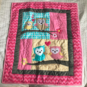 Brand New Owls Pink Baby Hand quilted Quilt