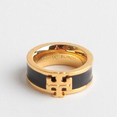 AUTH NWT TORY BURCH KIRA ENAMEL LOGO RING BLACK/GOLD SIZE 6