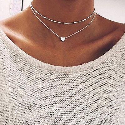 Women Jewelry Gf Pendant 925 Silver Gold Heart Choker Chunky Chain Bib Necklace