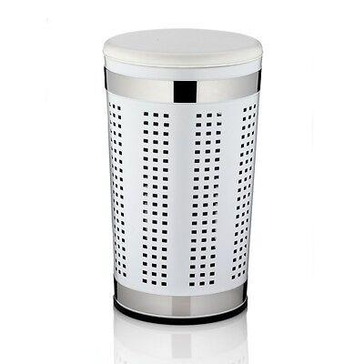 Kela Wäschebox Kiste Hocker mit Sitzkissen in Weiß Loch-Design Wäschetonne Sitz