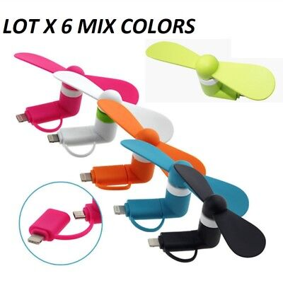 lot 6 Mini Portable 2 in 1 Phone Fan Cooler for iPhone samsung Android LG micro