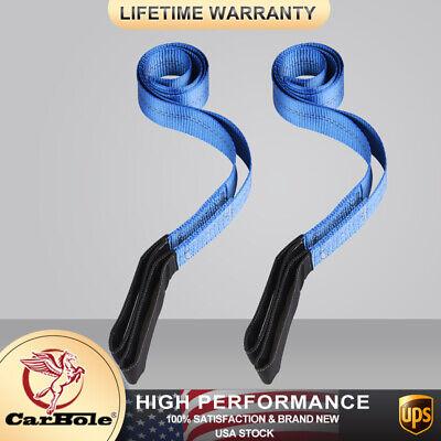 2 Heavy Duty Nylon Lifting Sling Flat Tow Strap Web Lift Sling Blue 6 X 2 New