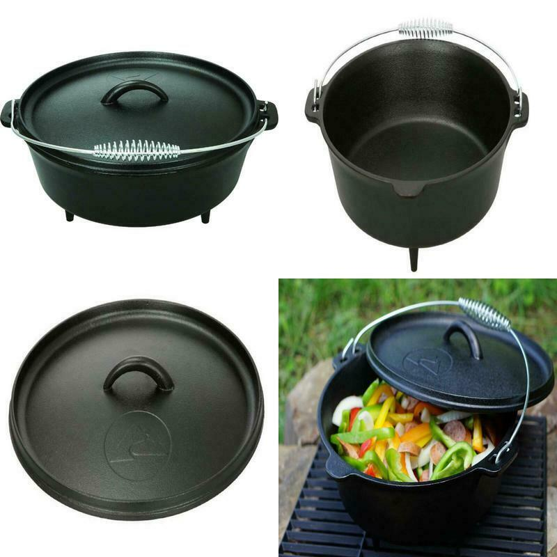 NEW 5 quart Dutch Oven Lid Pre Seasoned Cast Iron Pot Bake F