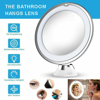 10X MAGNIFYING LIGHTED MAKEUP MIRROR Daylight LED Vanity Bathroom Travel Compact Magnifying Makeup Mirror
