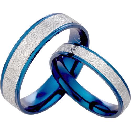 Blue Silver Engraved Unisex His&her Matching Wedding Tita...