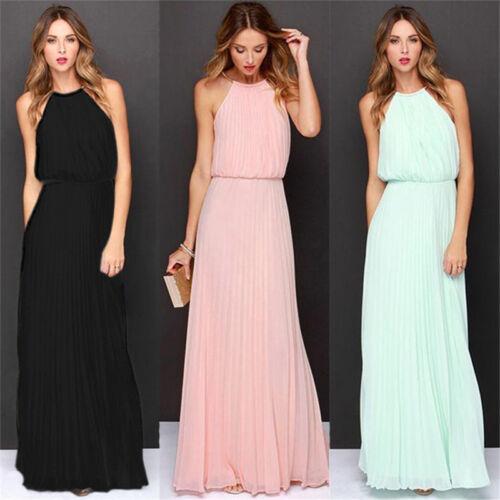 Damen Chiffon Abendkleid Maxi Kleid Bodenlang Cocktailkleid Sommerkleid Kleider
