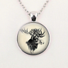 Charm Art Moose Glass Dome Pendant Necklace Unisex Jewelry Gift