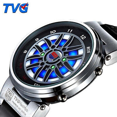 Tvg Creative Car Roulette Blue Led Dispaly Binary Watches Men Sports Watches
