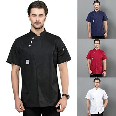 Chef Short Sleeve Jacket Coat Kitchen Workwear Hotel Cooking Uniform Men Women