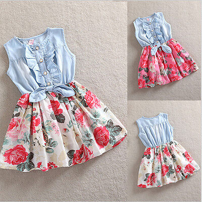 Prinzessin Kleid Mädchen Ärmellos Blumen Denim Freizeit Sommerkleid Partykleid