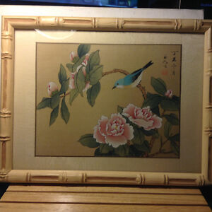 Chinese Vintage Painting Small Bird Bamboo Frame Signed