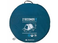 QUECHUA 2 SECONDS 2 PERSON CAMPING TENT - BLUE (Price New: £44.99)