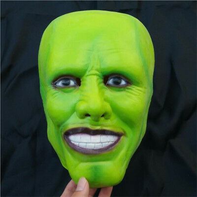 Movie The Mask Jim Carrey Green Latex Mask Costume Halloween Party Cosplay Props](The Mask Halloween Costume Jim Carrey)