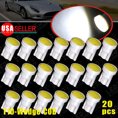 20 X White T10 Wedge Side Cob W5w 192 194 168 Led Bulb Instrument Cluster Lights