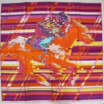 HERMES Fuchsia/Orange/Yellow PHOTO FINISH Twill 90 carre tusch scarf Modern Art