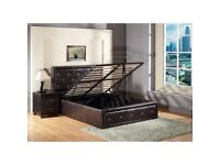 BRAND NEW ALICE DIAMOND DOUBLE KINGSIZE OTTOMAN LEATHER STORAGE BED FRAME WITH CHOICE OF MATTRESSES