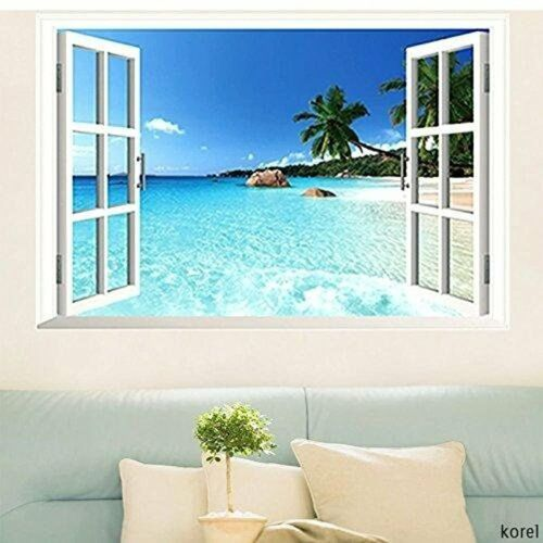 3D Window Decal WALL STICKER Home Decor Exotic Beach View Art Wallpaper Mural US 2