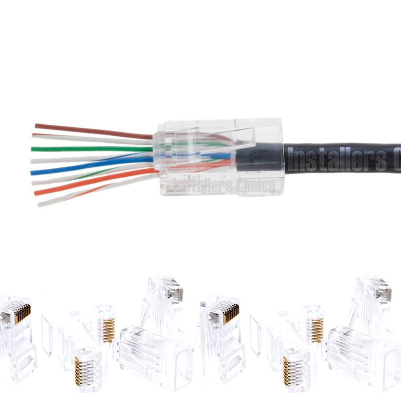 200PCS CAT6 Plug EZ RJ45 Network Cable Modular 8P8C Connector End Pass Through
