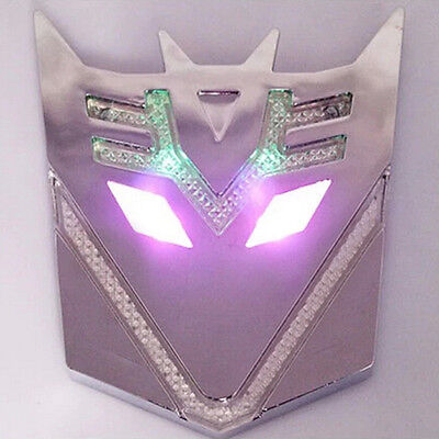 Car Solar Energy Transformers Decepticons Emblem Colorful Led Flash Strobe Light