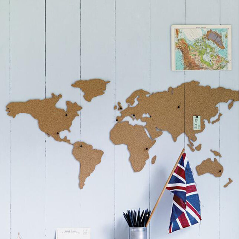 Details about World Map Cork Board Holiday Travel Wall Atlas Pin Framed  Notice Gift Corkboard