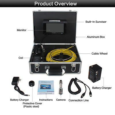 1000 Tvl Hd 7 Lcd 30m98t Sewer Pipe Drain Video Camera Dvr Inspection System