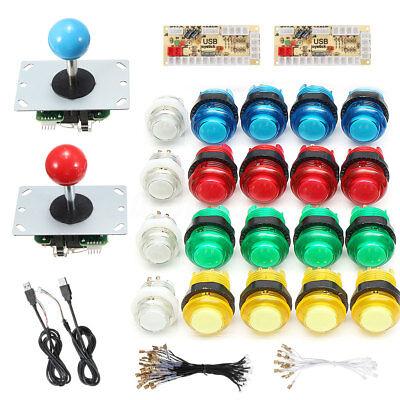 20x LED Arcade Spiel Button Taster Knöpfe + 2 MAME Joystick + 2 USB Encoder Kit