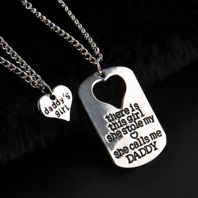 DADDY'S GIRL 2 PIECE NECKLACE SET FATHER DAUGHTER GIFT CHARM PENDANT SET #KC15 - Girl Necklace