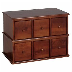 Leslie Dame 6-Drawer Apothecary Storage Cabinet in Walnut CD & DVD Media