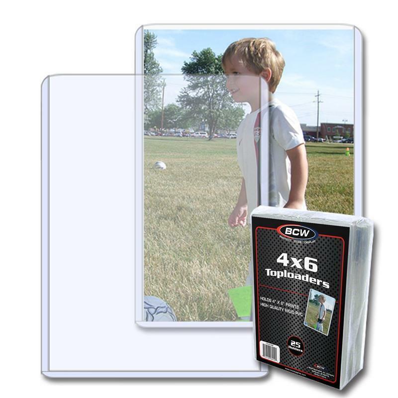 5 BCW 4 x 6 POSTCARD / PHOTO RIGID HARD PLASTIC TOPLOAD HOLDERS 4x6