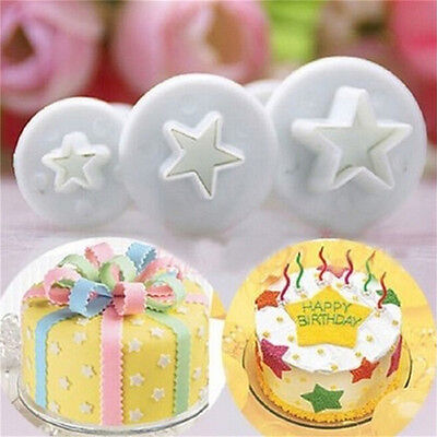 3PCS Star Cake Cookies Cutter Plunger Sugarcraft Decorating Fondant Mold SetNIU