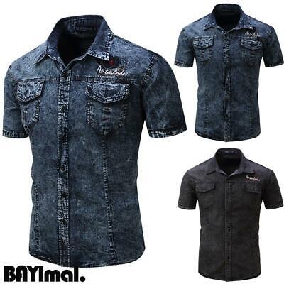 Mens Button Short Sleeve Denim Shirts Casual Summer Retro Cargo Slim Blouse Tops