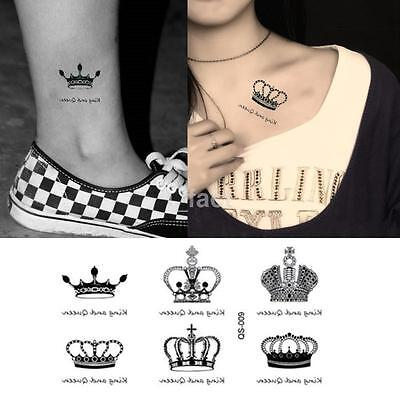 Waterproof Crown King and Queen Transfer Temporary Tattoo Body Art Sticker CA