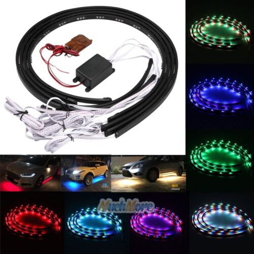 Car Parts - 7 Color LED Strip Under Car Tube Underglow Underbody System Neon Lights Kit USA